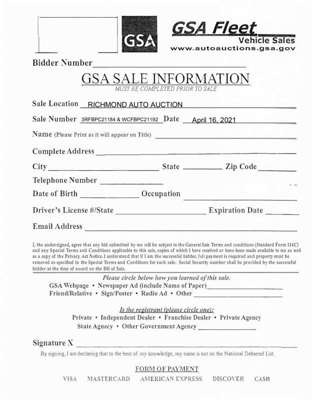 GSA Bidder Registration Form