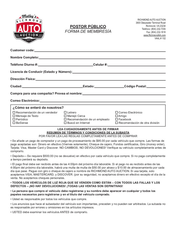 Public Registration Form (Español)